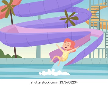 Water park background. Kids jumping and swimming in urban pool outdoor attractions fun in aquapark cartoon vector picture
