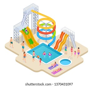 Water park isometric. Aquapark kids slide waterslide aqua recreation summer activities swimming pool leisure game waterpark vector