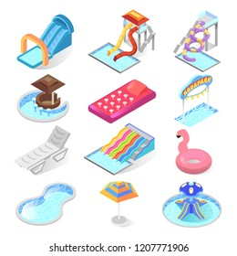 Water park kid entertainment isometric icon set. Amusement park with pools and wetted slides, for aquatic fun and recreation. Vector illustration on white background