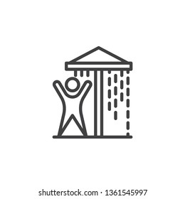 Water park shower line icon. linear style sign for mobile concept and web design. Man enjoy aquapark shower outline vector icon. Symbol, logo illustration. Pixel perfect vector graphics