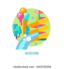 Water park. Vector illustration, logo, emblem. Water slide and ice cream.  Summer holiday.