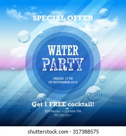 Water party flyer with graphic elements and place for text.  Abstract summer background on a sea subject with sky and  clouds