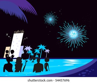 Water party night: People silhouette in pool & fireworks behind. People in night pool. Vector illustration in retro style. Fireworks and hotel complex in background.