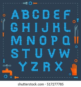 Water pipe industrial Font with Plumbing service flat illustrations. Decoration font, Ware Pipes technology system, typography concept.