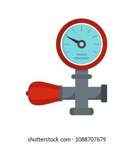 Water pipe pressure measurement meter monitor icon. Flat illustration of water pipe pressure measurement meter monitor vector icon for web