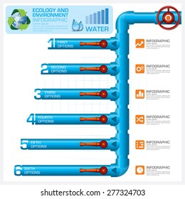 Water Pipeline Ecology And Environment Business Infographic Diagram Vector Design Template