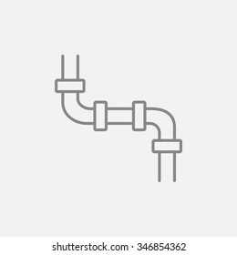 Water pipeline line icon for web, mobile and infographics. Vector dark grey icon isolated on light grey background.