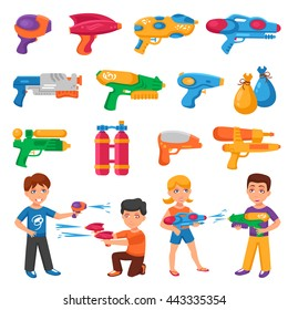 Water pistols for children set with water fights symbols flat isolated vector illustration