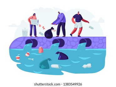 Water Plastic Pollution. People Dumping Garbage Into River, Trowing Trash from Bags and Litter Bins. Ocean Pollution, Ecology, Environment Protection, Conceptual Cartoon Flat Vector Illustration