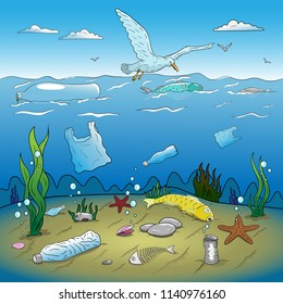 Water plastic pollution vector illustration. Hand drawing.