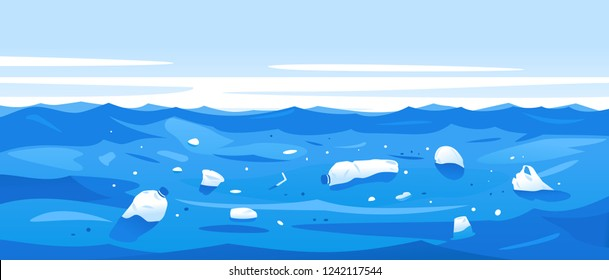 Water polluted of plastic trash, garbage in sea water ecological disaster concept illustration, environmental pollution, trash in seawater landscape background