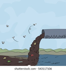 Water pollution concept hand drawn illustration
