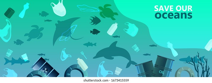 Water pollution environmental concept with plastic bags, bottles, barrels, dolphin, fish, shark. litter in muddy water. Ocean animals and fish silhouettes. Ecological banner in trendy blue colors