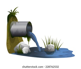 Water pollution from industrial pipe, ecological disaster, dirty toxic effluents, environmental pollution, eps10 isolated