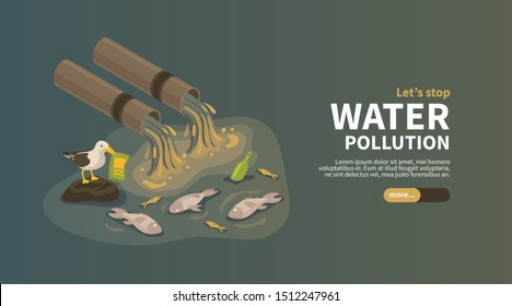 Water pollution from industry horizontal banner with industrial pipes polluting ocean with waste products isometric vector illustration