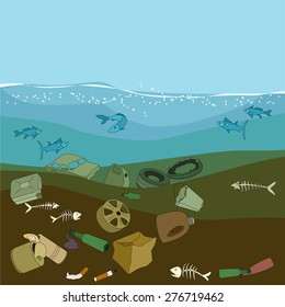 Water pollution in the ocean. Garbage, waste. Eco concept.
