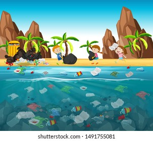 Water pollution with plastic bags in ocean illustration