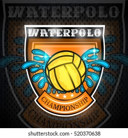 Water polo ball between water splash in center of shield. Vector sport logo on blackboard for any team or competition