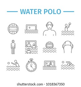 Water polo line icons. Vector sports signs.