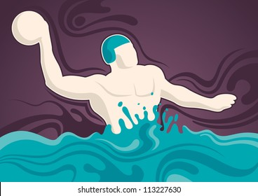 Water polo player illustration. Vector illustration.