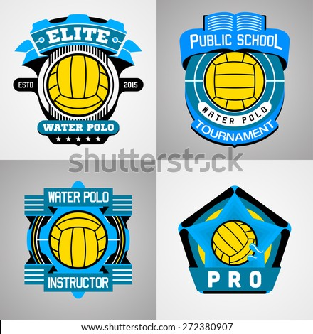 9f53de504321d Water Polo Sport Label Collection Stock Vector (Royalty Free ...