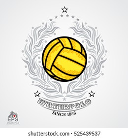 Water polo yellow ball in center of silver laurel wreath isolated on white. Sport logo for any team