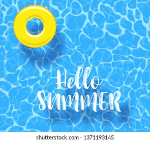 Water pool summer background with yellow pool float ring. Colorful vector poster template for summer holiday. Hello summer web banner. Vector illustration in flat style