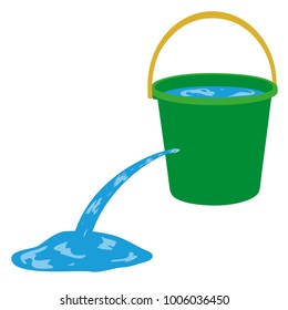 Water is poured out of a hole in a bucket