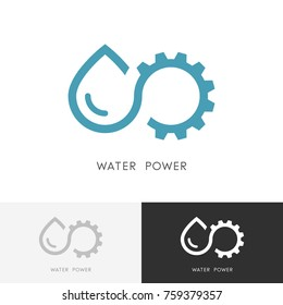 Water power logo - drop of water, gear wheel or pinion and infinity symbol. Alternative energy source, industry and ecology vector icon.