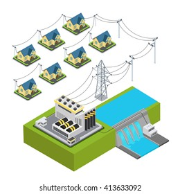 Water power plant energy hydro station green village supply cycle infographic concept. Flat 3d isometry isometric style web site vector illustration. Ecology eco lifestyle sustainable world collection