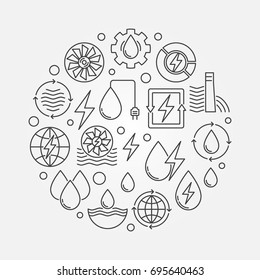 Water power round illustration. Vector renewable energy concept outline sign made with hydroelectric power icons