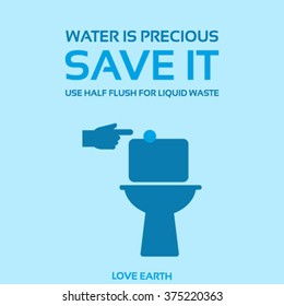 Water is precious-Save it-Use dual flush toilet for liquid waste-vector concept