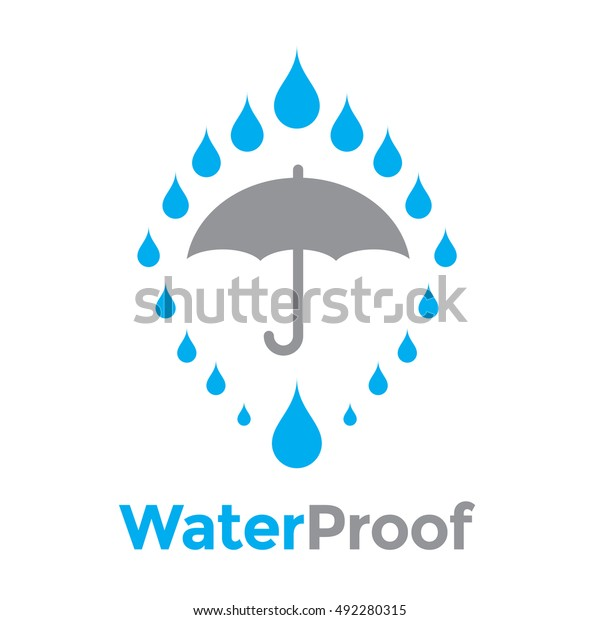 0ce733f3efd7 Water Proof Vector Icon, Water Resistant or Liquid Protection. Logo Concept  with umbrella and