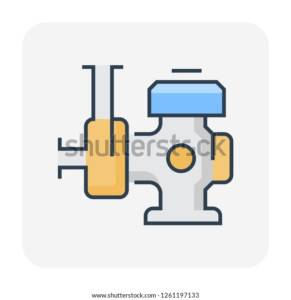 Water Pump Engine Icon Water Distribution Stock Vector