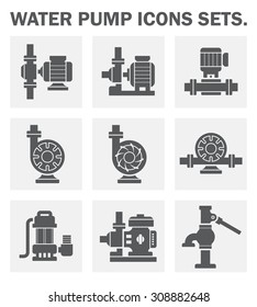 Water pump icon i.e. centrifugal, rotary, submersible and well pump.