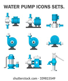 Water pump icon i.e. centrifugal, rotary, submersible and well pump. Powered by electric motor, engine and hand. For water supply infrastructure, wastewater treatment, plumbing and irrigation.
