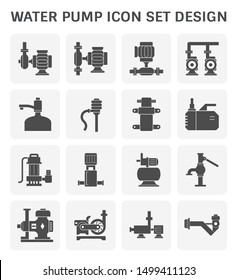 Water pump icon such as centrifugal, rotary, drinking water, diaphragm, submersible, high pressure, well and screw. Powered by electric motor, engine and hand. For control and move water. Vector icon.