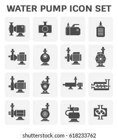 Water pump icon. Such as lobe, submersible sewage, centrifugal, screw, high pressure. Powered by electric motor. Using for water supply infrastructure, wastewater treatment, irrigation, plumbing etc.