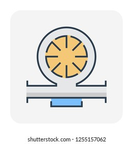 Water pump and water pipe icon for distribution water, editable stroke.