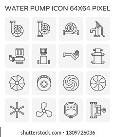 Water pump and steel blade icon for water distribution, 64x64 perfect pixel and editable stroke.