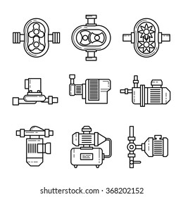 Water pump vector line icons sets. Tube construction metal, system pipe, pressure and control illustration