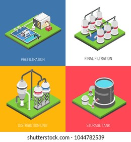 Water purification 2x2 design concept set of distribution unit storage tank prefiltration and final filtration square icons isometric vector illustration