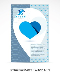 Water purification business promotion idea, brochure head page. Save water idea, vector heart shape.