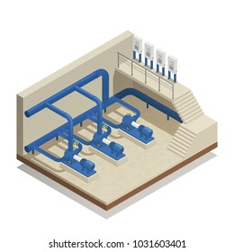 Water purification and cleaning facility element isometric composition with treatment plant pump system equipment vector illustration