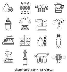 Water purification icon set. Wastewater treatment collection. Thin line design