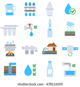 Water purification icons set. Wastewater treatment collection in flat style.