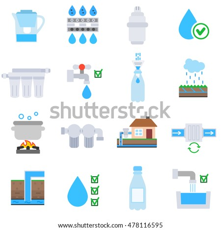 Water Purification Icons Set Wastewater Treatment Stock