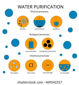 Water purification infographic set. Perfect vector illustration made in trendy flat style.
