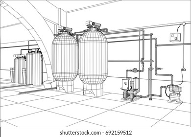 Water purification station. Industrial equipment. Tracing illustration of 3d.