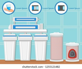 Water Purification System. Water Treatment Plant Concept. Destruction Bacteria. Flasks with Filters and Fluid Reservoir. Purification and Filtration Technology. Vector Flat Illustration.